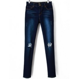 Stretch Washed Skinny Jeans with Busted Knees Size:S-XL