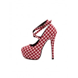Gorgeous Strapy Stiletto High Heel Shoes in Houndstooth Print