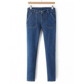Slim Fit Double Button Slinky Denim Pencil Pants Size:S-L