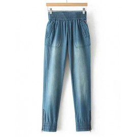 Street Ruched Trim Elastic Waist Harem Jeans with Lip Embroidery Size:S-L