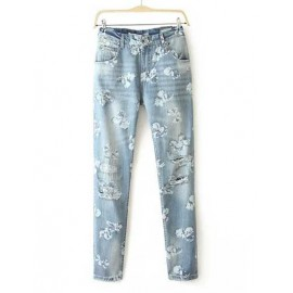 Boyfriend Floral Printed Denim Jeans in Light Blue Size:S-XL