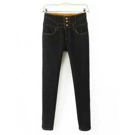 European High-Waist Three Buckle Jeans in Black Size:S-XL
