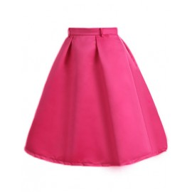 Elegant Pure Color Flare Hem Pleated Skirt with High Waist Size:S-XL