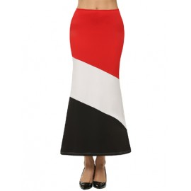 Vogue Color Block Mid-Rise Midi Skirt with Elastic Waist Size:S-L