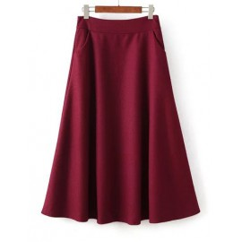 Delicate High Waist Circle Midi Skirt in Wool Size:S-L