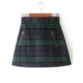 Cute Plaid A-Line Skirt with Zipper Embellished Size:S-XL