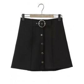Classic Elastic Waistband Single-Breasted Flare Skirt in Black Size:S-L