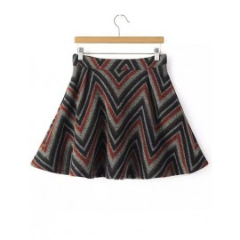 Retro Color Panel Zigzag Printed A-Lien Skirt with Zip Back Size:S-L