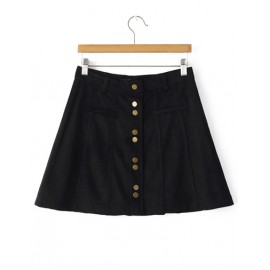 Retro Single-Breasted A-Line Suede Skirt in Black Size:S-M