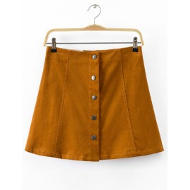 Vintage High Waist Single-Breasted Corduroy Skirt in Solid Color Size:S-XL