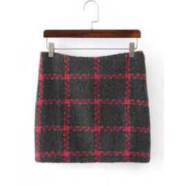 Comfy Tartan Printed Bodycon Skirt with Zip Accent Size:S-L