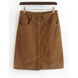 Vintage High-Waist Single-Breasted Corduroy Skirt in Khaki Size:S-L