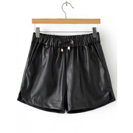 Chic Drawstring Elastic Waist Shorts in PU Size:S-L
