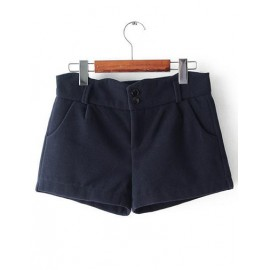 Vibrant High Waist Double Button Shorts with Slanted Pockets Size:S-XL