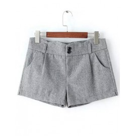 Chic High Waist Double Button Shorts with Slanted Pockets Size:M-2XL