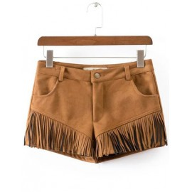 Beauty Pockets Sueded Shorts in Tassel Trim Size:S-XL