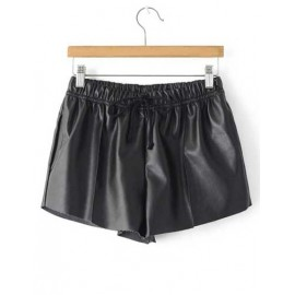 Loose Fit Drawstring Waistline Ruched PU Shorts in Black Size:M-L