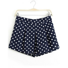 Retro Mid-Rise Polka Dots Pleated Shorts in Dark Blue Size:S-L