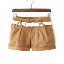 Chic Slim Fit Turn Over Shorts with Zip Trim Back Size:M-2XL