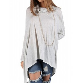 Leisure Long Sleeve High Necklace Asymmetric Hem Tee in Gray