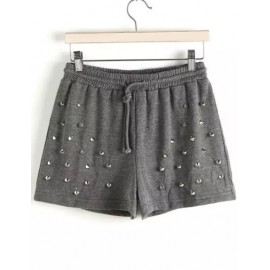 Loose Wide Leg Drawstring Shorts with Beading Trim Size:M-L