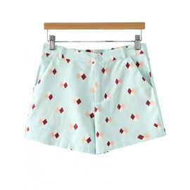 Exquisite Slanted Pocket Shorts with Rhombus Print Size:S-L