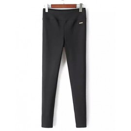Leisure Elastic Waist Black Skinny Pants with Metallic Trim Size:S-XL