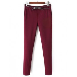 Classical Fleece Lining Elastic Waist Skinny Pants with Slanted Pocket Size:S-XL