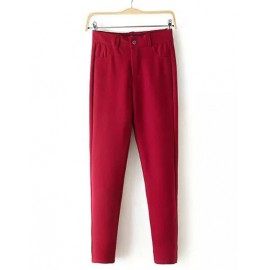 Casual Single Button Pure Color Pants with High Waist Size:S-XL
