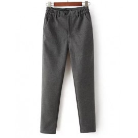 Fashionable Slanted Pocket Wool Pants with Elastic Waist Size:S-XL