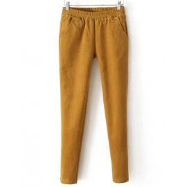 Fashionable Fuzzy Corduroy Pencil Pants in Elastic Waist Size:S-XL