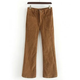 Leisure High-Rise Pockets Corduroy Pants with Bell Bottom Size:S-L