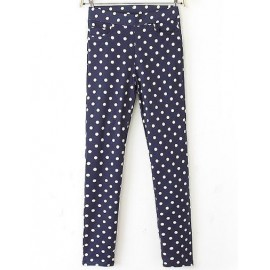 Polka Dots Printed Skinny Pants with Pockets Size:S-XL