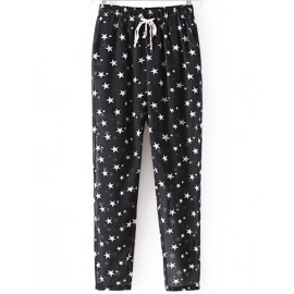 Contrast Color Stars Printed Chiffon Pants with Elastic Waist Size:S-L