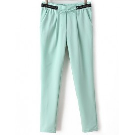 Slanted Pockets Peg Pants with PU Panel Waist Size:S-XL