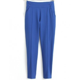 Pure Color Relaxed Pants in High Waist Size:S-XL