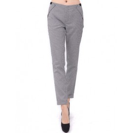 OL Houndstooth Printed Pants in Slim Fit Size:S-L
