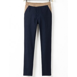 Two Tone Casual Pants with Single Button Size:S-L
