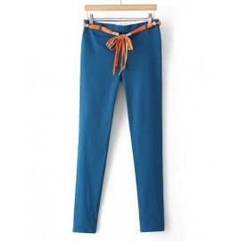 Refreshing Candy Pure Color Pants with Seaming Trim Size:S-XL