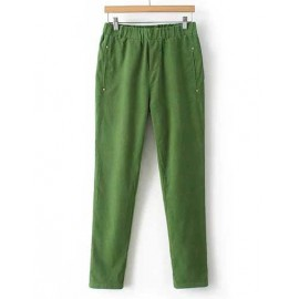 Simple Elastic Waist Corduroy Harem Pants with Jetted Pocket Size:S-XL