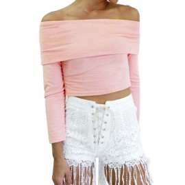 Seductive Off-Shoulder Pure Color Long Sleeve Cropped Tee in Pink