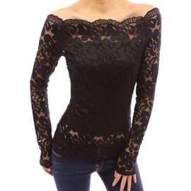 Seductive Off Shoulder Scallop Edge Lace Tee in Pure Color