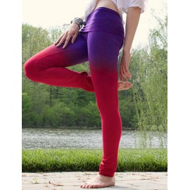 Sportive Ombre Color Skinny Leggings with Elastic Waist Size:S-XL