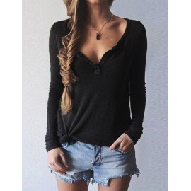 Seductive Deep V Neck Long Sleeve Tee in Solid Color
