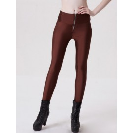 Stylish High-Rise Zippered Front Leggings in Candy Color Size:L-XL