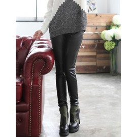 Fashionable PU Body Fitting Pencil Pants Size:S-L