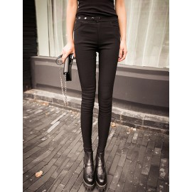 Fashion Buttons Embellished Skinny Pants Size:S-XL