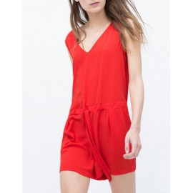 Vogue Lace-Up Back Sleeveless Playsuit in Drawstring Size:S-L