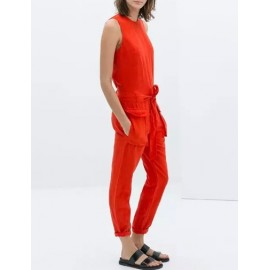 Unique Crew Neck Belted Sleeveless Jumpsuits in Flap Pockets Size:S-L