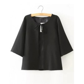 Trendy Wide Sleeve Black Cape Jacket with Tie Fastening Size:S-L
